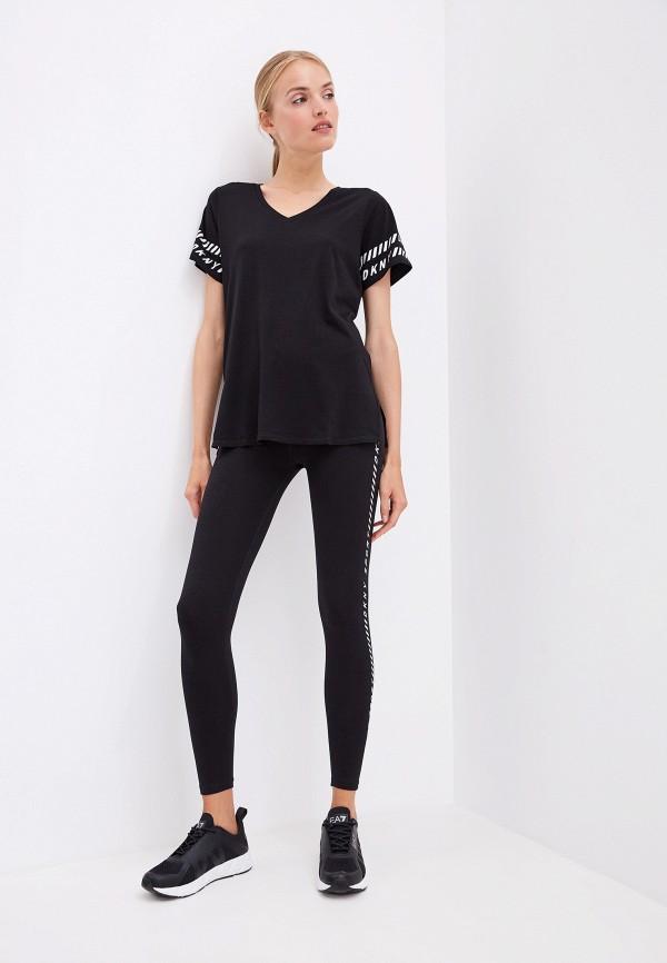 Фото 2 - женские леггинсы DKNY черного цвета