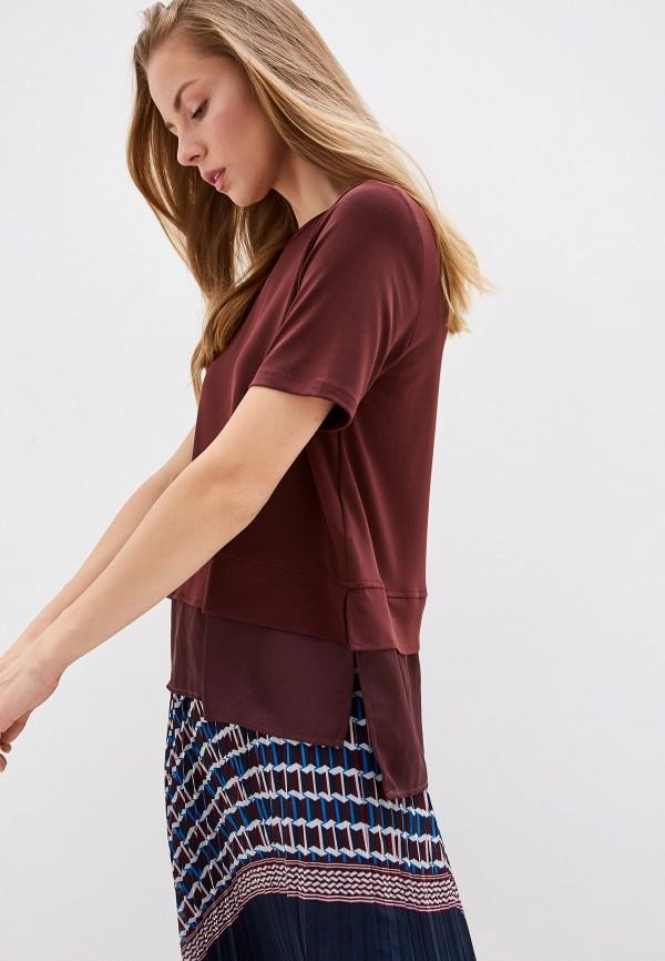 женская футболка dkny, бордовая