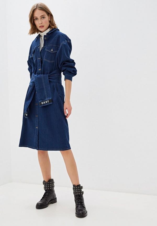 женское джинсовые платье dkny, синее