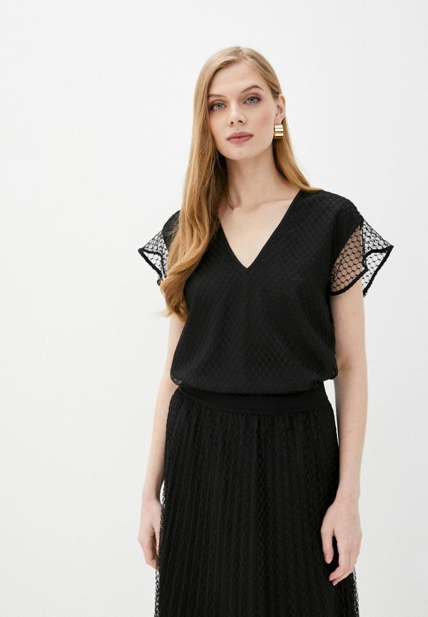 женская блузка с коротким рукавом dkny, черная