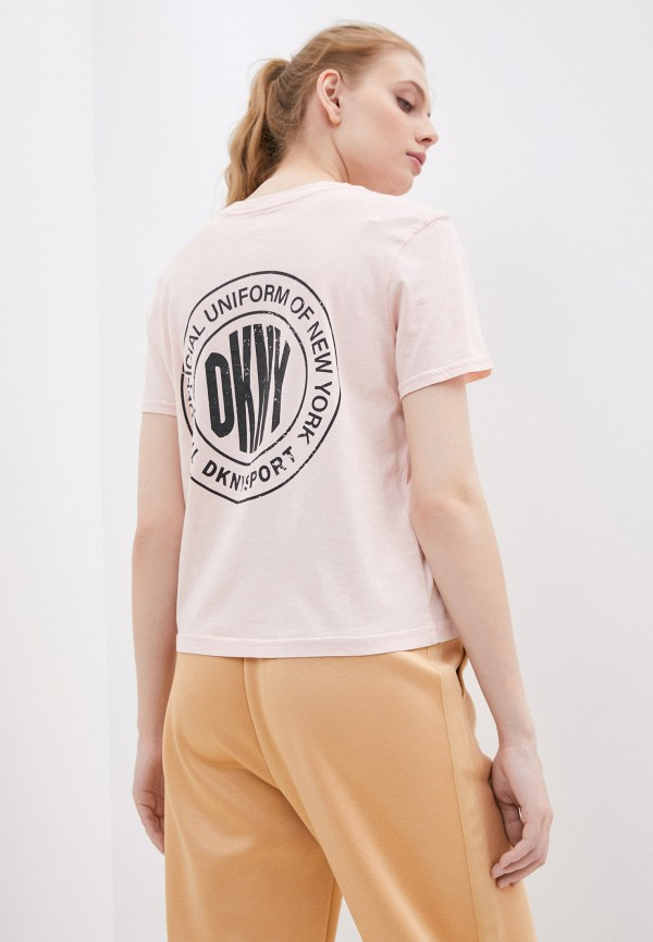женская футболка dkny, розовая