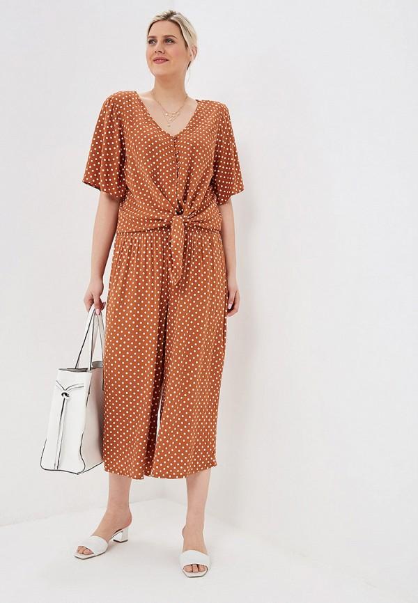 Фото 2 - женские брюки Dorothy Perkins Curve коричневого цвета