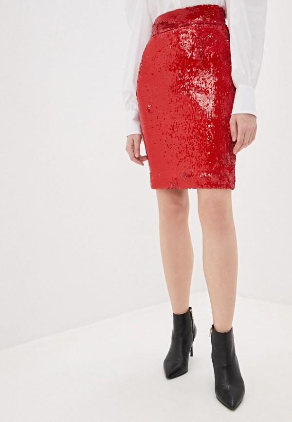 женская прямые юбка dondup, красная