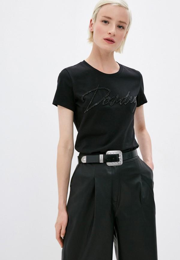 женская футболка dondup, черная