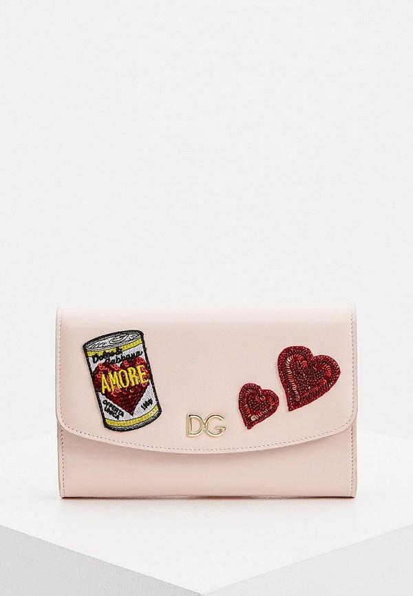 женская сумка через плечо dolce & gabbana, розовая