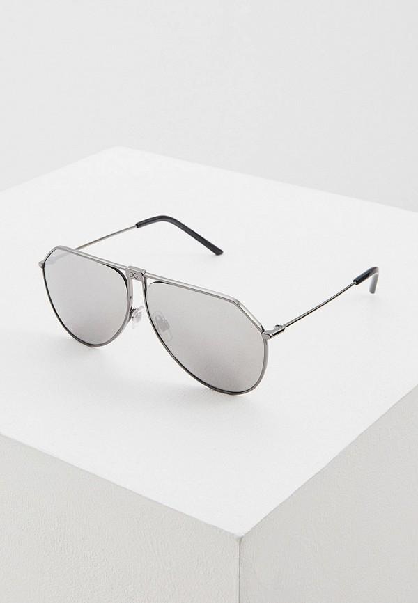 мужские круглые солнцезащитные очки dolce & gabbana, серебряные