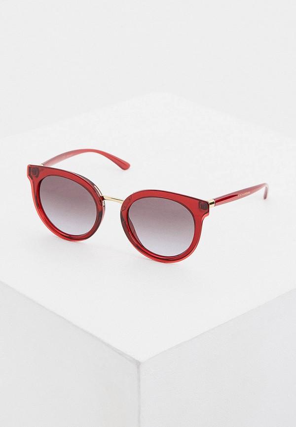 женские круглые солнцезащитные очки dolce & gabbana, красные