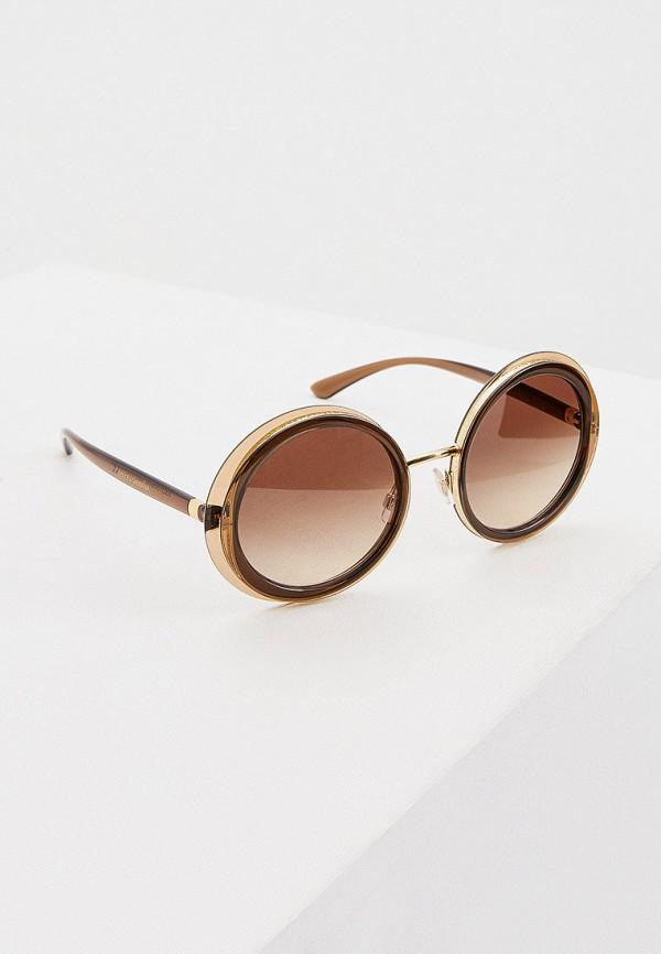 женские круглые солнцезащитные очки dolce & gabbana, коричневые