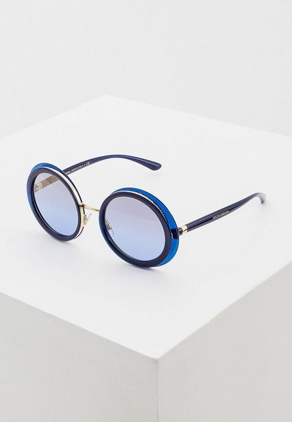 женские круглые солнцезащитные очки dolce & gabbana, синие