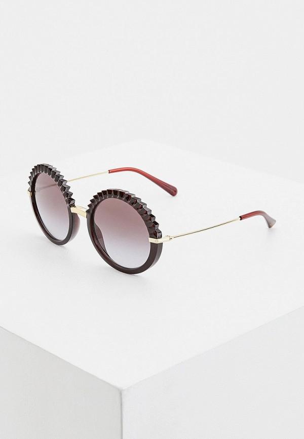 женские круглые солнцезащитные очки dolce & gabbana, бордовые