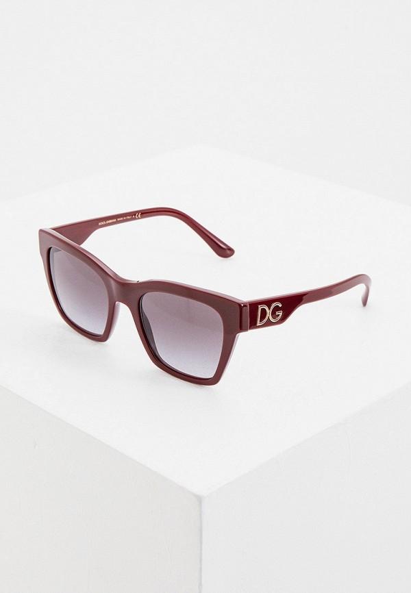 женские квадратные солнцезащитные очки dolce & gabbana, бордовые