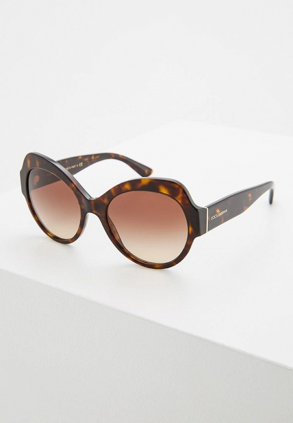 женские солнцезащитные очки кошачьи глаза dolce & gabbana, коричневые