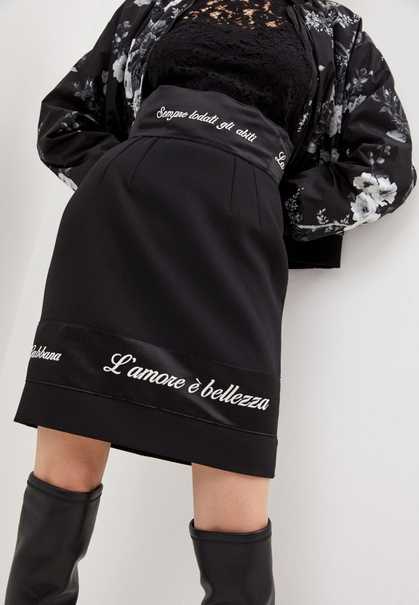 женская прямые юбка dolce & gabbana, черная