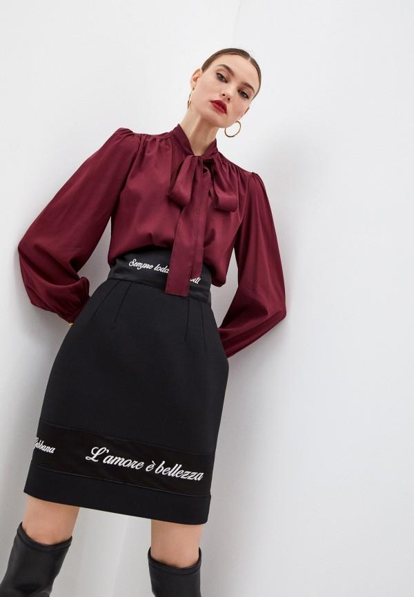 женская блузка dolce & gabbana, бордовая