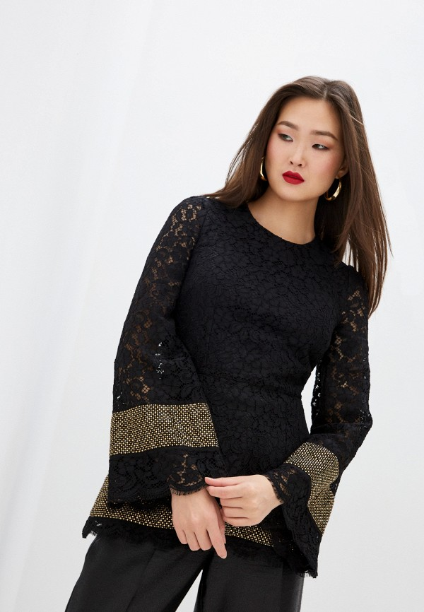 женская блузка с длинным рукавом dolce & gabbana, черная