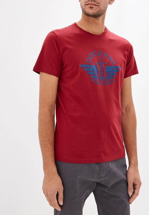 мужская футболка с коротким рукавом dockers, бордовая