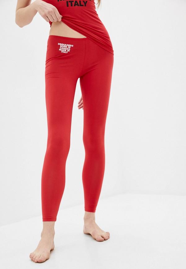 женские леггинсы dsquared underwear, красные