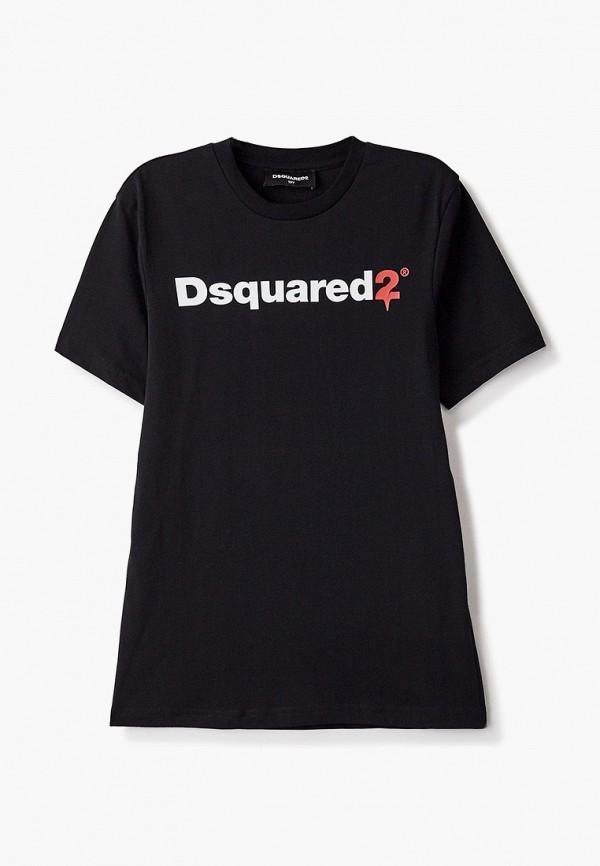 футболка с коротким рукавом dsquared2 для мальчика, черная