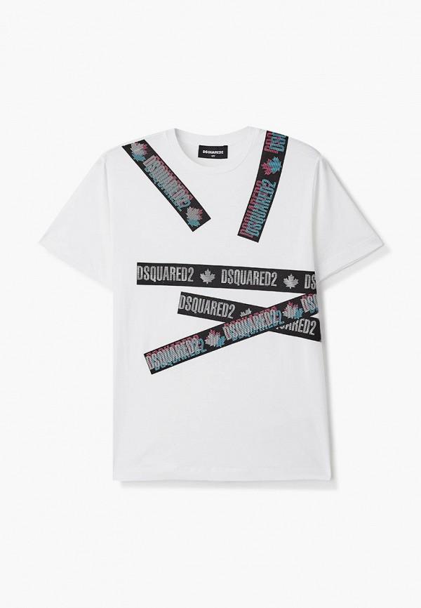 футболка с коротким рукавом dsquared2 для мальчика, белая