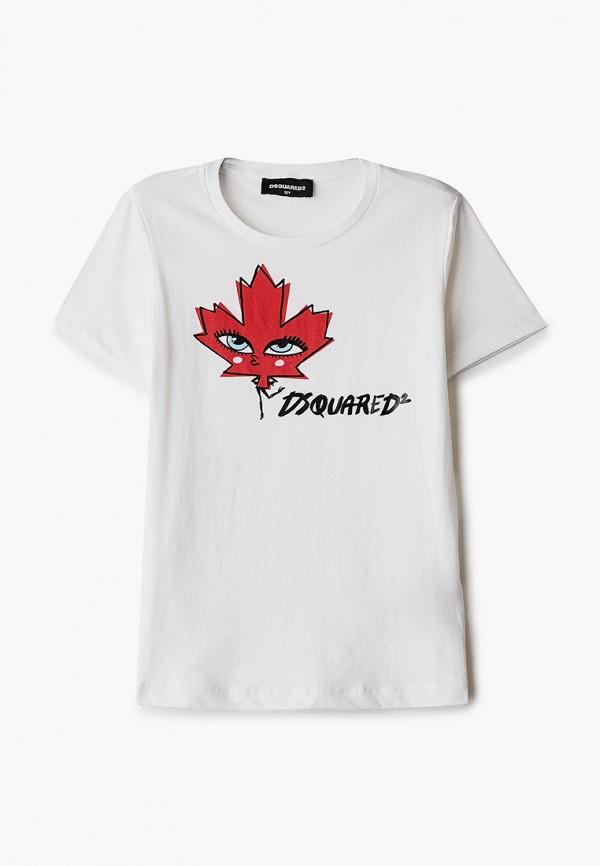 футболка с коротким рукавом dsquared2 для девочки, белая