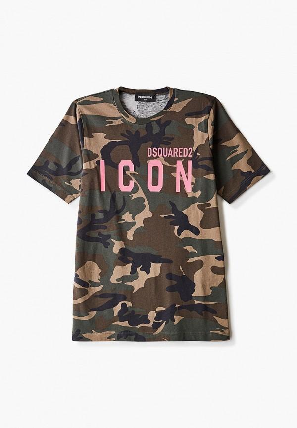 футболка с коротким рукавом dsquared2 для девочки, хаки