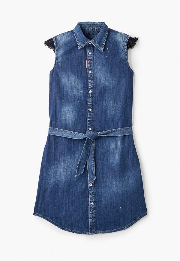 повседневные платье dsquared2 для девочки, синее