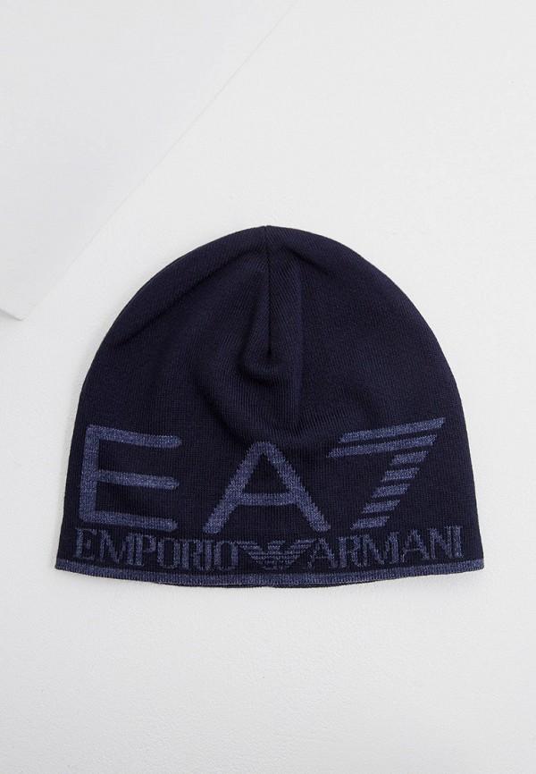 мужская шапка ea7, синяя