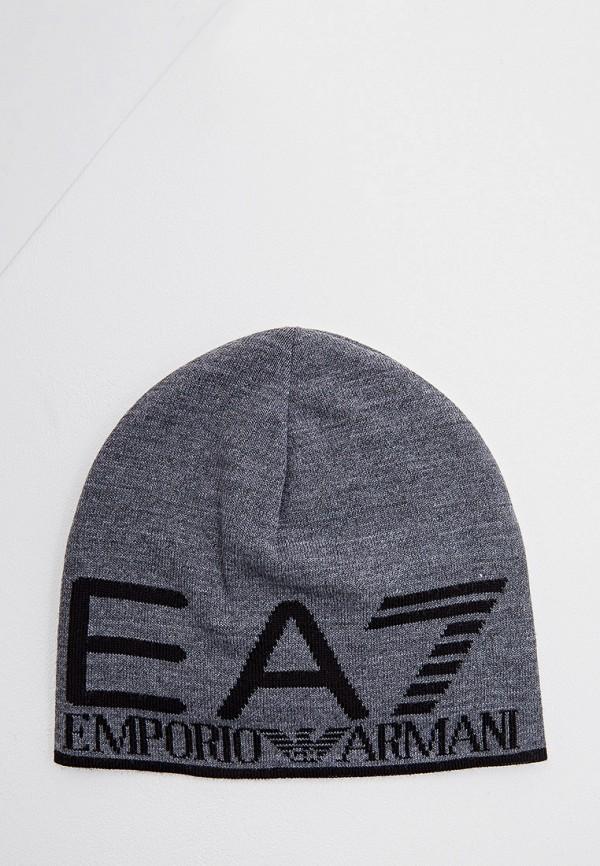 мужская шапка ea7, серая