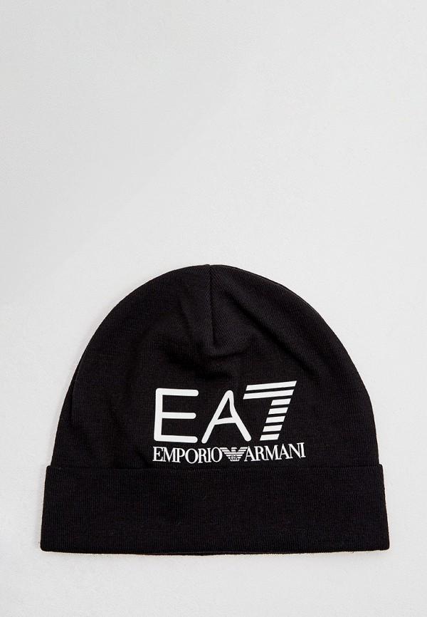 мужская шапка ea7, черная