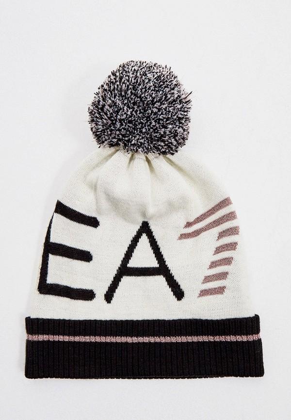 женская шапка ea7, белая