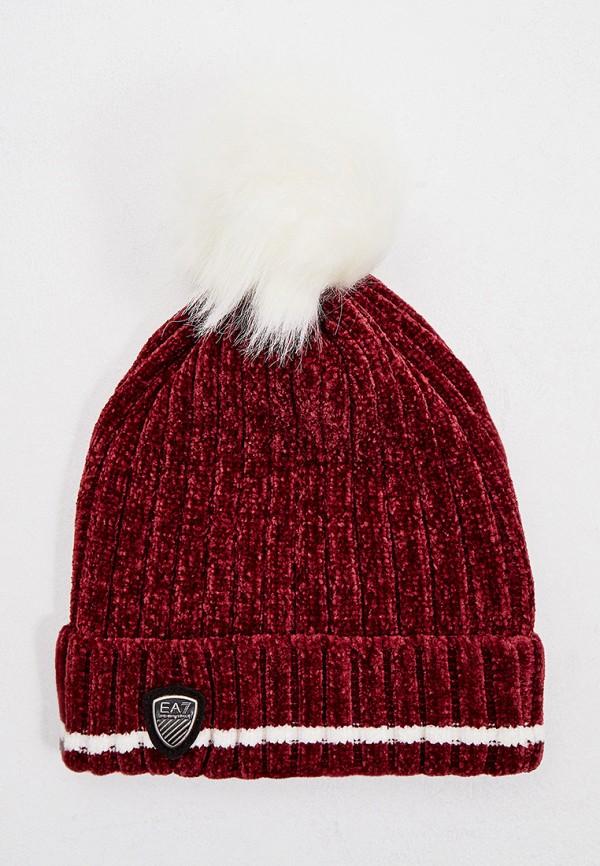 женская шапка ea7, бордовая