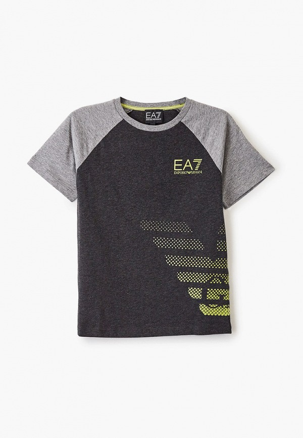 футболка ea7 для мальчика, серая