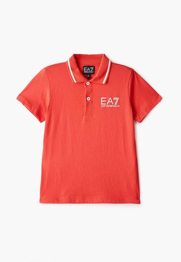 поло ea7 для мальчика, красное