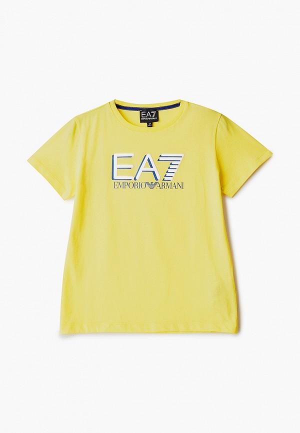 футболка ea7 для мальчика, желтая