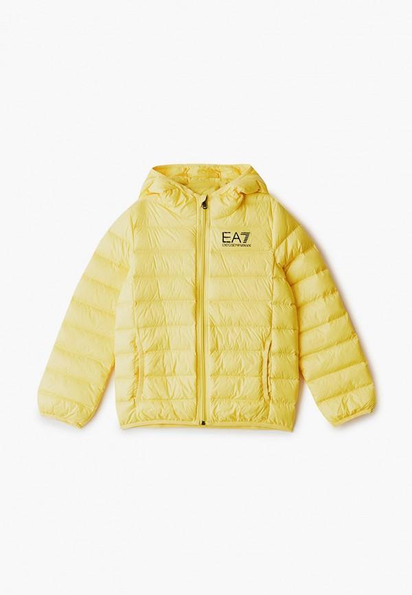 пуховик ea7 для мальчика, желтый