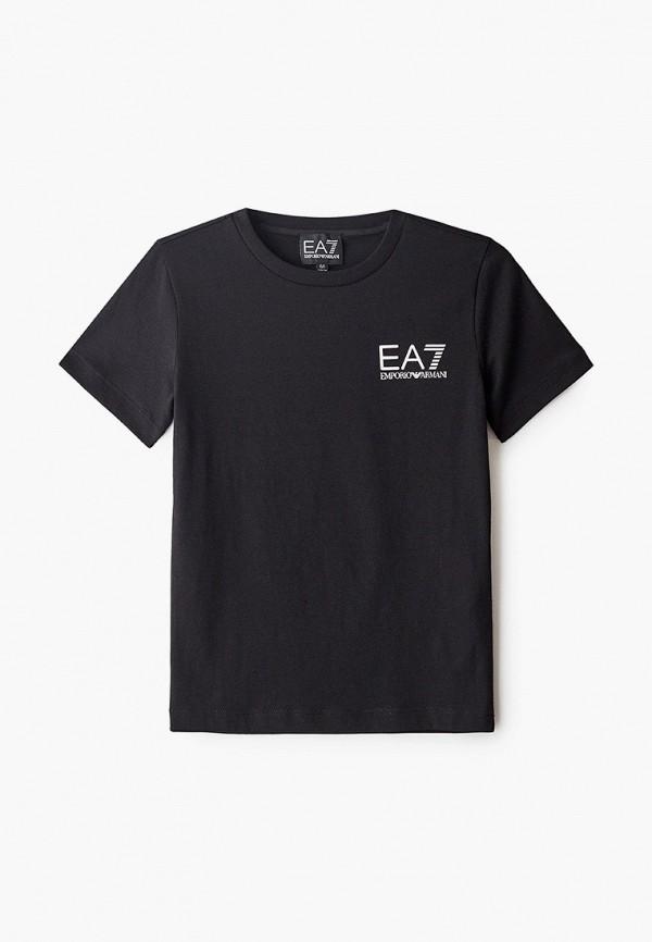 футболка ea7 для мальчика, черная