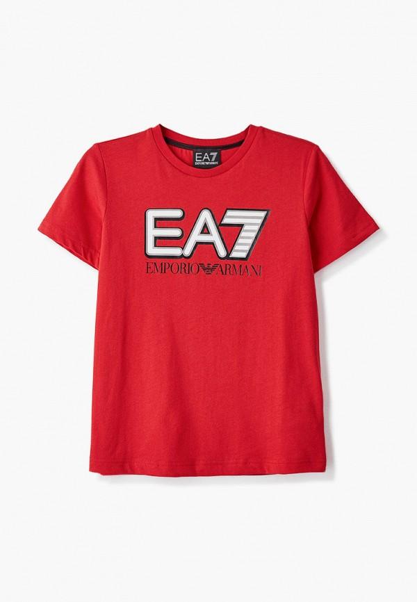 футболка ea7 для мальчика, красная