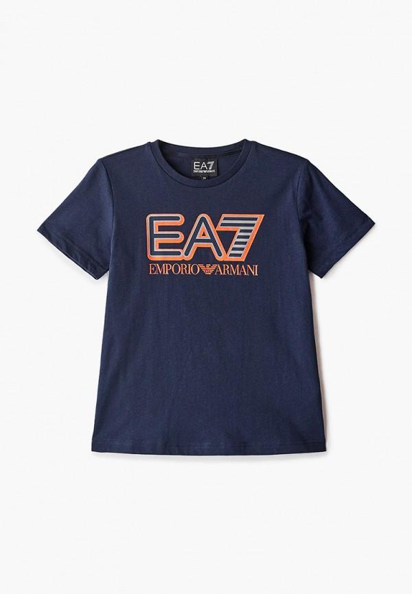 футболка ea7 для мальчика, синяя