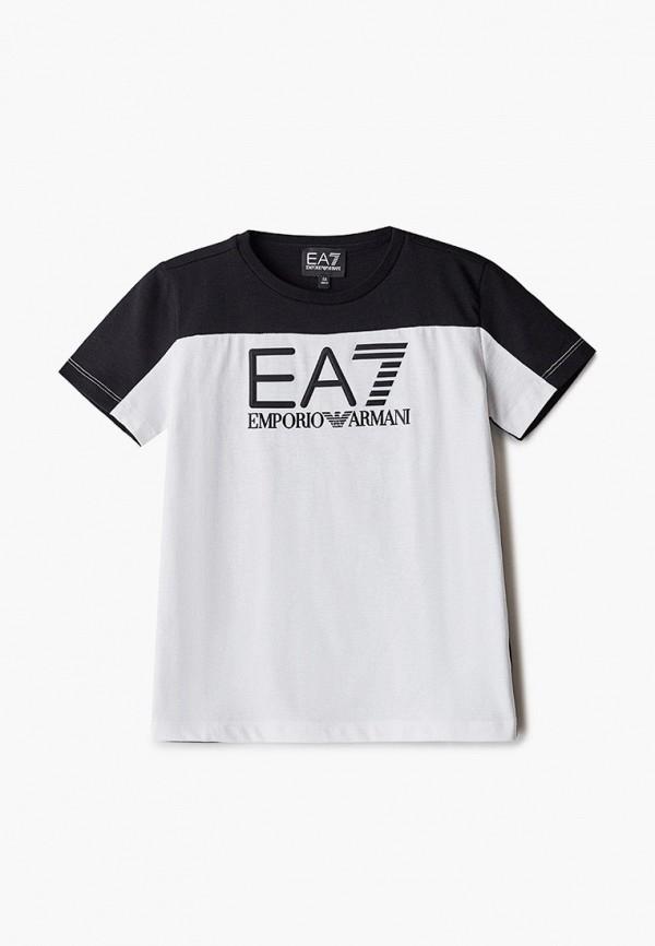 футболка ea7 для мальчика, белая