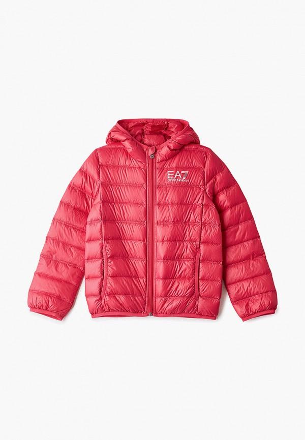 пуховик ea7 для девочки, розовый