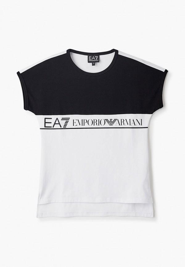 футболка ea7 для девочки, разноцветная