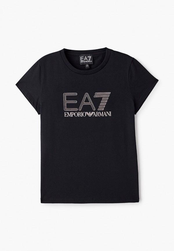 футболка ea7 для девочки, черная
