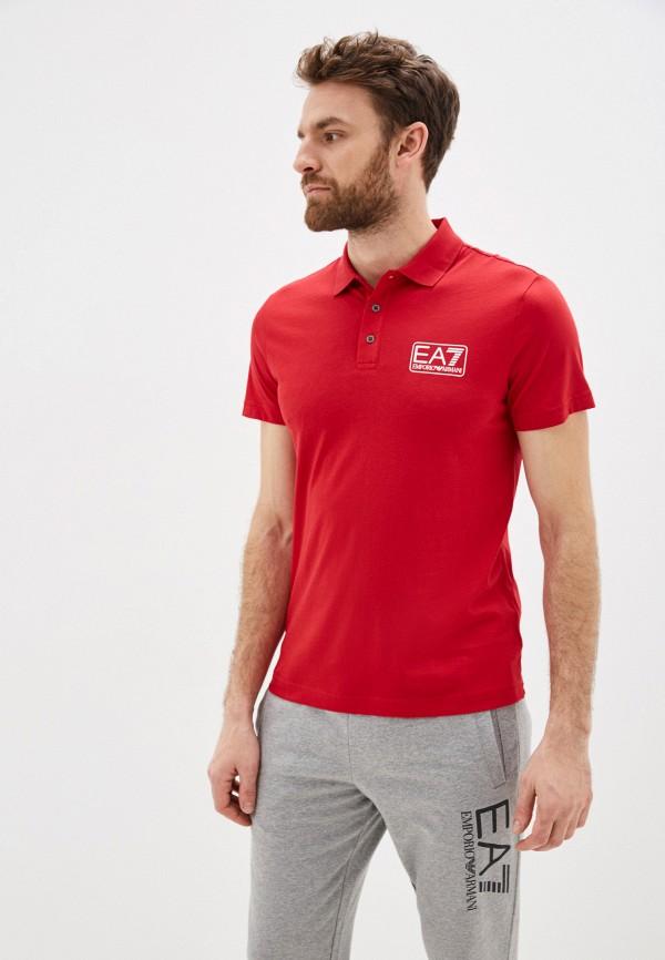 мужское поло ea7, красное