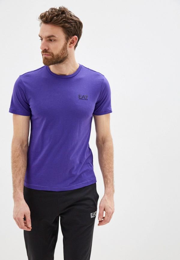 мужская футболка ea7, фиолетовая