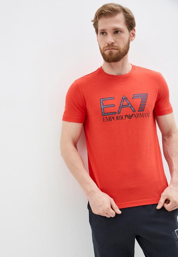 мужская футболка ea7, красная