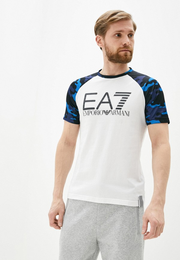 мужская футболка ea7, белая