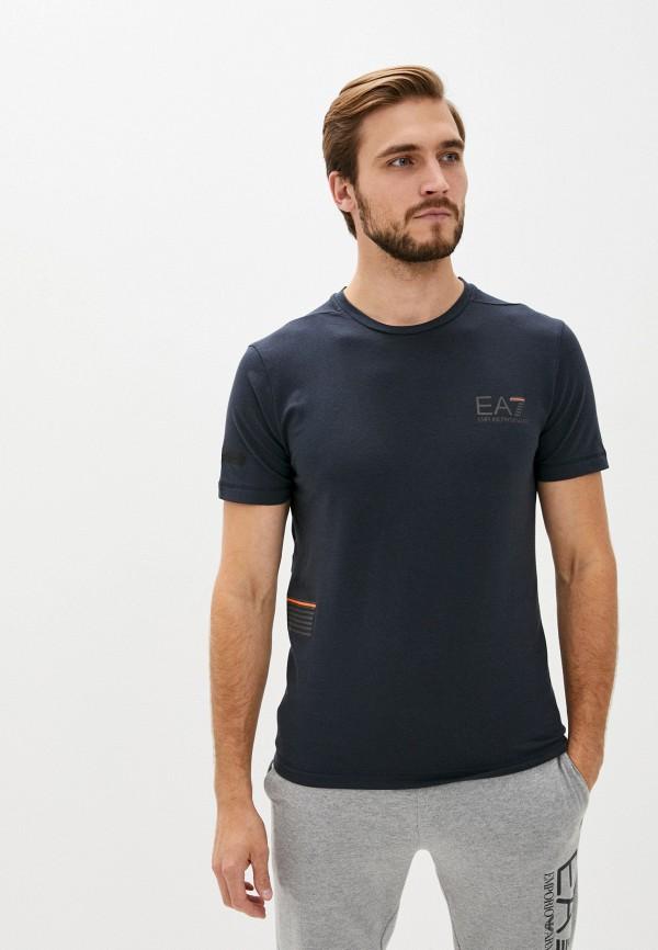мужская футболка ea7, синяя