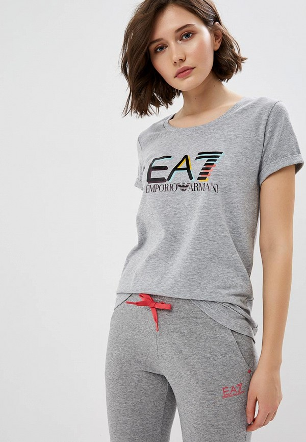 женская футболка ea7, серая