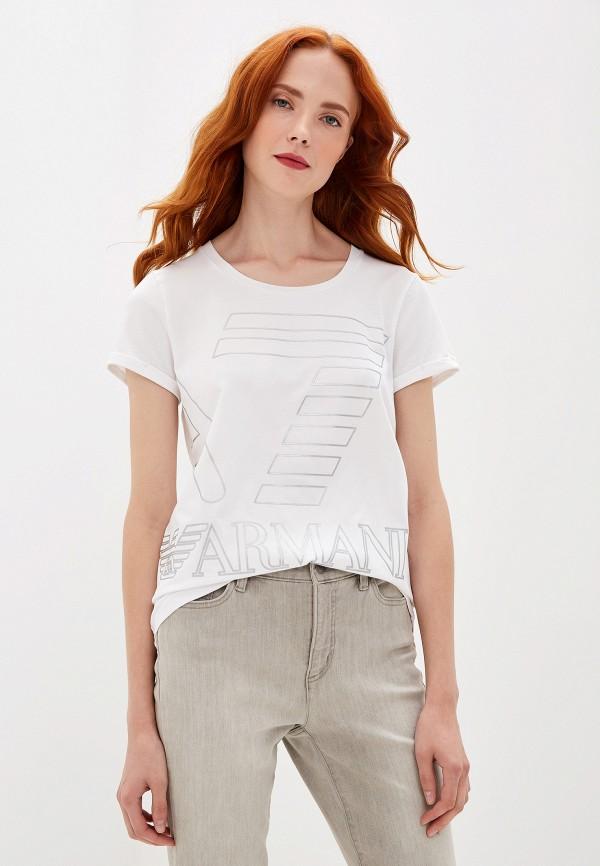 женская спортивные футболка ea7, белая