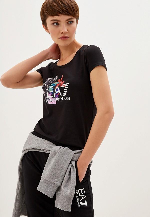женская спортивные футболка ea7, черная